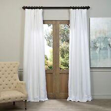 "Exclusive Fabrics Ice White Vintage Faux Dupioni Silk Curtain Pole Pocket 50x84"""