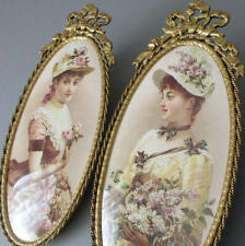 Pr Vintage GILT Ormolu Frames Crowned w Flowing BOWS Miniature Portrait LADIES