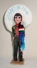 VINTAGE Mexico Souvenir Doll Sombrero Man Mexican Bullfighter BullFight Folk Art