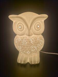 "White Ceramic ""bisque"" Owl Lamp/Nightlight 9"" Tall 5w LED bulb"