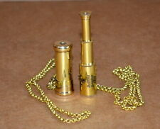 "Antique vintage maritime 2"" brass kaleidoscope and 2"" telescope with brass chain"