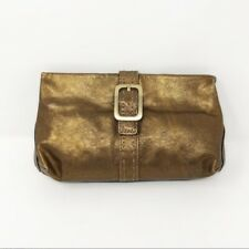 Cole Haan Women's Antique Gold Metallic Leather Clutch Magnetic Closure Mini Bag