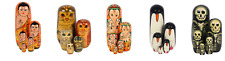 Cat Russian Doll 5 Piece Set 12cm High Cats Wood Nesting Hand Painted Great Gift