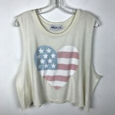 Wildfox Blouse Cropped Tank Top Size S Small American Flag Heart Cotton Cream