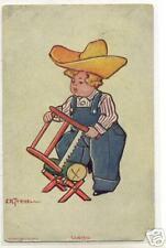 Old Postcard 190? Young Boy Using Bucksaw Log