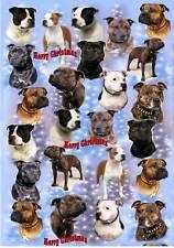 Staffordshire Bull Terrier Dog Christmas Paper by Starprint - 1 semi gloss sheet