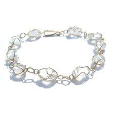 Bracelet, Raw Chips Of Quartz Gemstone. Real Rock Crystal Gold Coloured Link
