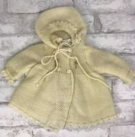 Vintage Friemanit Imported Baby Infant Sweater Hooded Jacket Ivory Yellow Spain