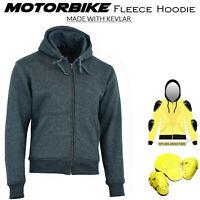 Men's Motorbike Fleece Hoodie Motorcycle Sports Jacket MADE WITH KEVLAR Armor CE