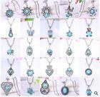 Women Fashion Vintage Tibetan Silver Turquoise Bib Crystal Pendant Long Necklace