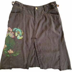 NWOT Da-Nang Surplus Women's Skirt Knee Length Charcoal Floral Painted Silk M XS