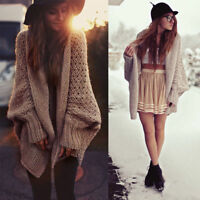 Women Batwing Sleeve Knitted Sweater Tops Loose Cardigan Outwear One Size Coat
