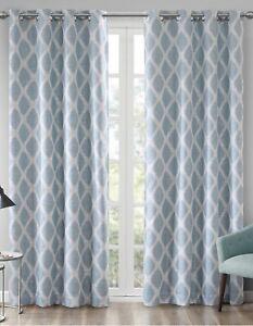 "Sunsmart Blackout Blakesly Aqua 50""x 84"" Silver Grommet Lined Curtain Panel NEW"