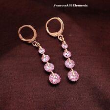 Boucles d'oreilles pendantes dorées 'or jaune 4 rangées Swarovski® Elements Rose