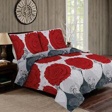 2 teilig Bettwäsche Renforce Baumwolle 135x200 Floral Rosen Rot