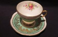 E B Foley Vintage Bone China Tea Cup & Saucer #3485 Green With Floral & Gold