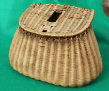 """13""""x 8"""" French read Trout fishers vintage fishing creel basket"""