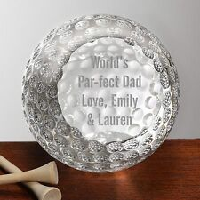 Crystal Golf Ball Award Trophy Paperweight Free Personalized Engraving 3'' Tall