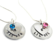 Big Sis and Lil Sis Gift Set of Personalised Birthstone Initial Necklaces