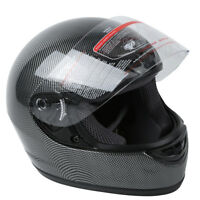 DOT Motorcycle Black Carbon Fiber Flip Up Full Face Street Helmet S M L XL XXL