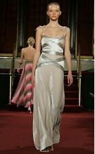 Matthew Williamson principale SILVER LEATHER & velvet Maxi Abito UK12
