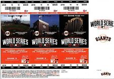 SAN FRANCISCO GIANTS VS ROYALS WORLD SERIES TICKET STUB STRIP SET GAME 3 4 5 SRO