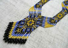Patriotic Necklace gerdan Ukraine Handcrafted Ukrainian traditional Beaded folk