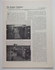 THE PENDANT TELEPHONE By J D Hinchcliff Vintage 1939 Article