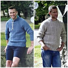 KNITTING PATTERN Mens Round or Drawstring Neck Cable Jumper DK King Cole 4747