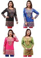 71+ Sold TOP DRESS PRINTED SHORT INDIAN KURTA KURTI TUNIC PRINTED SHIRT 161(A-D)
