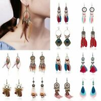 New Fashion Boho Earrings Long Tassel Fringe Boho Feather Dangle Women Jewelry