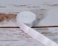 """5 Yards White 5/8"""" (15mm) Satin  Plush Back Strap Elastic Latex Free DYEABLE"""