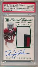 DAVID JOHNSON 2015 NATIONAL TREASURES RC GREEN AUTO 3 COLOR PATCH #01/31 PSA 10