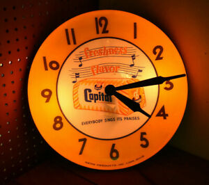 """RARE VINTAGE CAPTIAL BREAD LIGHTED CLOCK NEON PRODUCTS 1950s 15"""""""