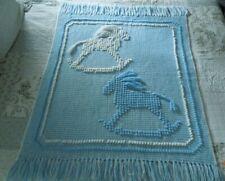 New listing Handmade Crochet Baby Blanket Blue And White Rocking Horses
