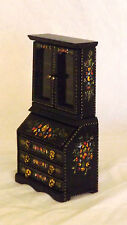 1/12th Scale Hand Painted Dolls House  Antique Style Wall Bureau Book Case Unit
