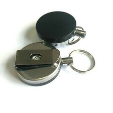 Pull Keychain Retractable Metal Card Badge Holder Steel Recoil Key Ring Belt