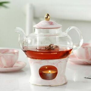 Marble Design Glass Teapot Ceramic Base With Strainer And Candle Creative Set