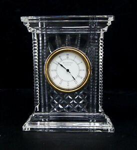 "Waterford Crystal ATRIUM Desk Mantle Clock 7"" Tested WORKS C2754"