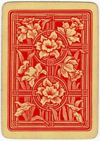 Playing Cards 1 Single Card Old Vintage Wide Non-Rev. DAFFODIL FLOWERS Flower