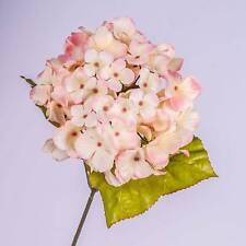 "Silk flower Hydrangea spray MONA, pink 28""/70 cm - Plastic single stem flower"