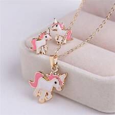 3Pcs/set Pink Horse Unicorn Jewelry Sets For Women Girl Earrings Necklaces HK