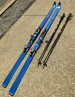 "VTG 77"" HART Camaro Blue Combination Cross Country Downhill Snow Ski w/ Poles"
