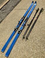 "VTG 77"" HART Camaro Blue Combination Cross Country Downhill Snow Ski w/ Poles"