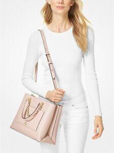 Michael Kors Cece Medium Leather Chain Messenger Bag Soft Pink $378