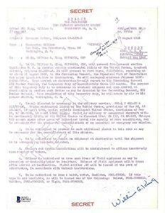 WIlliam King Signed Document BAS D87951 Manhattan Project Fat Man Bomb