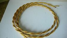 Gold Twisted Cloth Covered Electrical Wire Braided Rayon Fabric Wire
