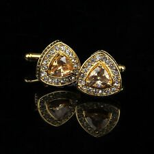 Vintage Stainless Steel Men's Wedding Gift Golden Diamond Crystal Cuff Links New
