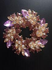 New Beautiful Wreath Brooch PURPLE  Gold Coloured    FR12