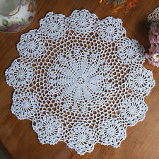 37CM Pure Cotton Handmade Crochet Lace Doily Placemat Round Flower Coaster Mat